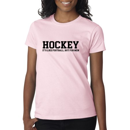 Trendy USA 939 - Women's T-Shirt Hockey It's Like Football But For Men Small Light Pink (Usa Hockey Jersey 2014)