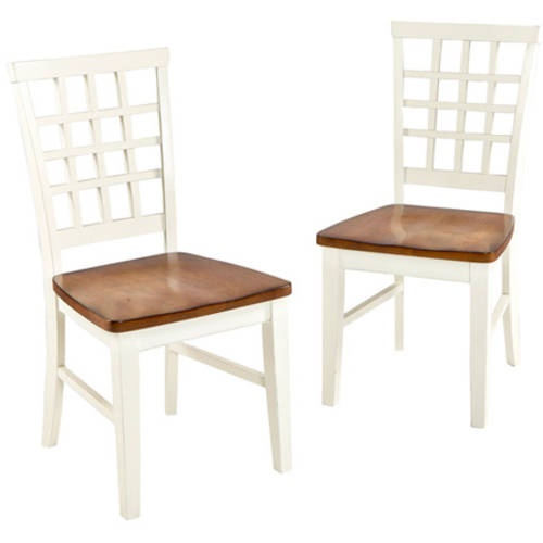 Imagio Home Arlington Lattice Back Dining Chairs, Set of 2, White and Java