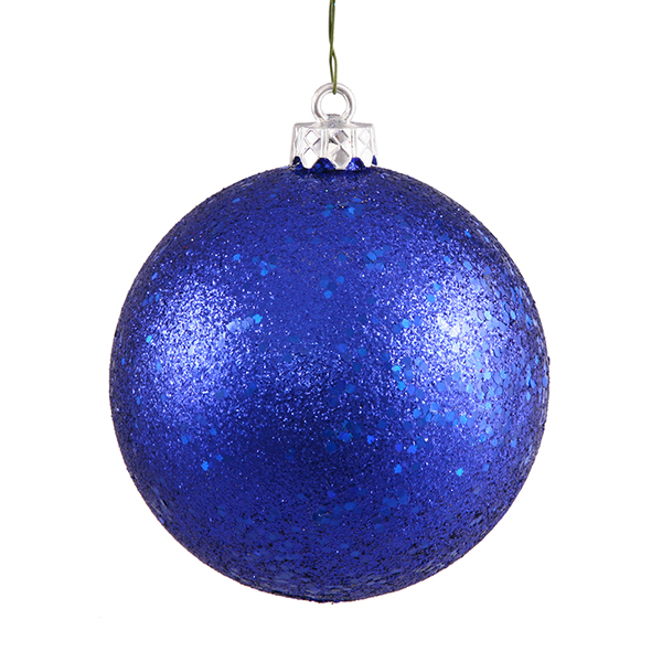 "Cobalt Blue Holographic Glitter Shatterproof Christmas Ball Ornament 4"" (100mm)"