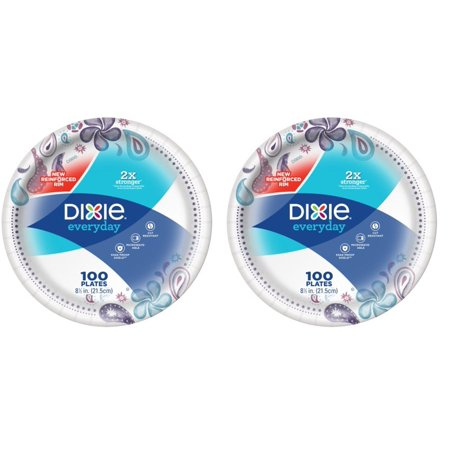 (2 Pack) Dixie Everyday Lunch Size Paper Plates, 100ct, 8.5