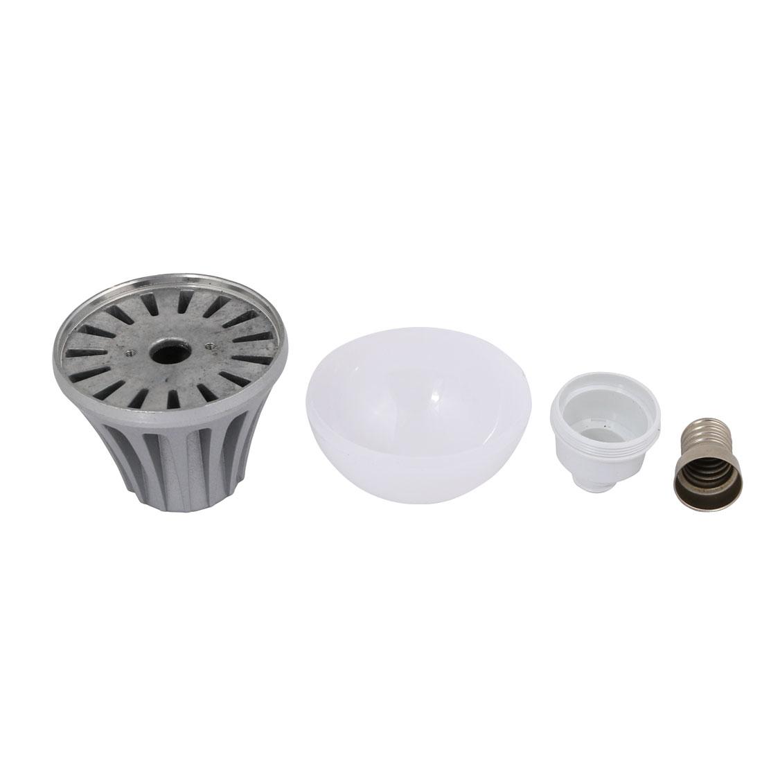 2Pcs 5W/7W Sliver Tone Aluminum Ball - Bulb Lamp Housing E14 Base w White Cover - image 3 of 4