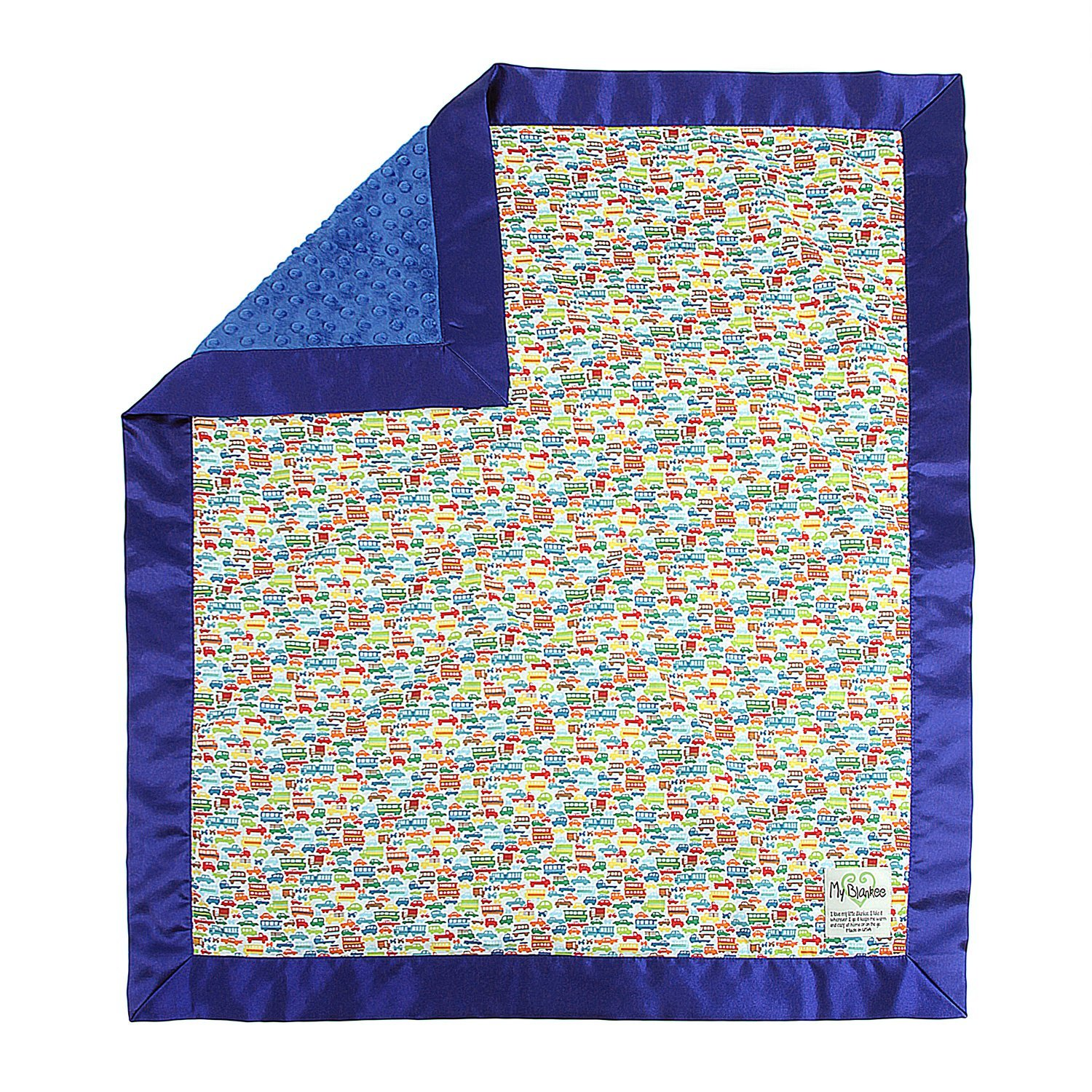 My Blankee Rush Hour Multi Cotton Blanket with Minky Dot,...