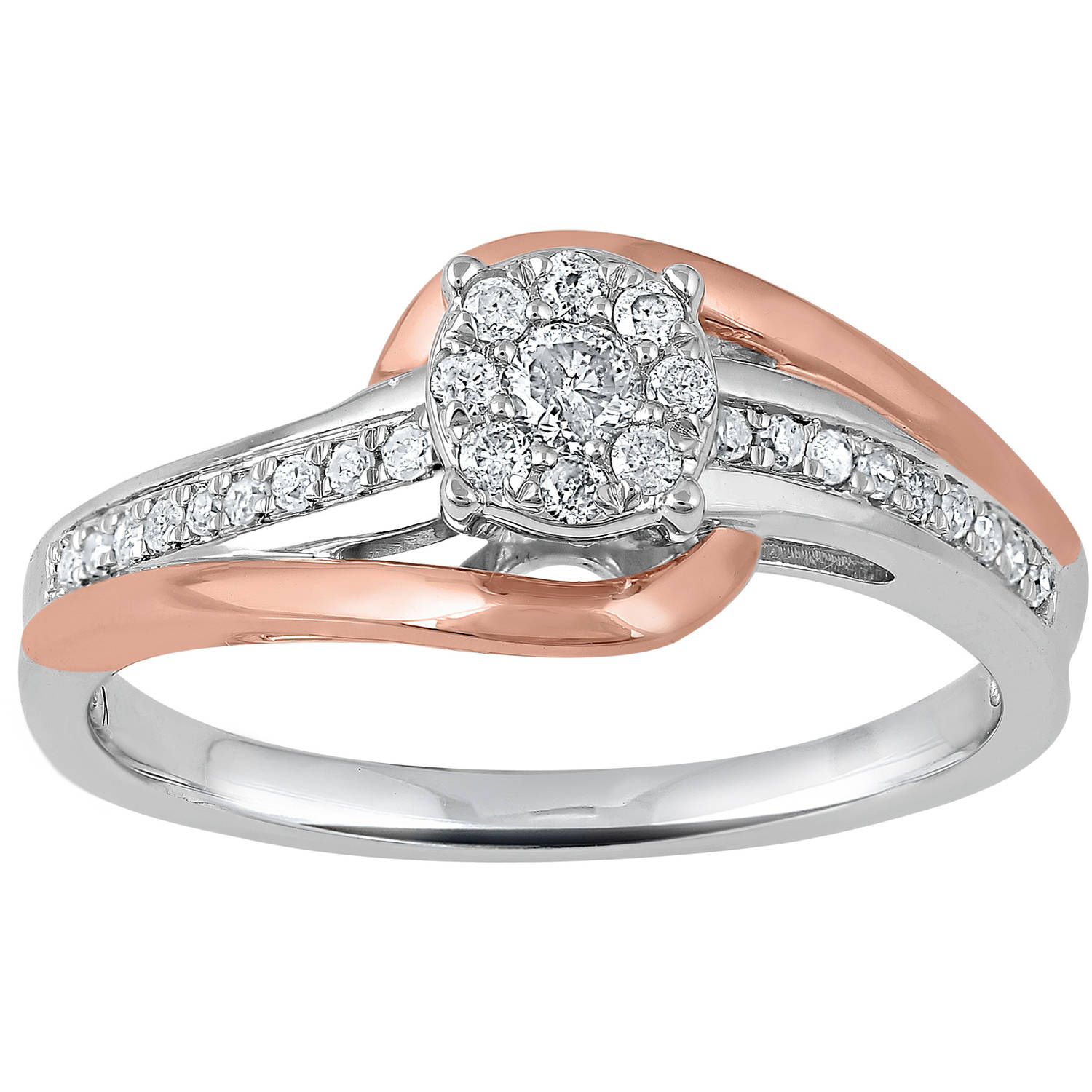 Heart 2 Heart 1/4 Carat T.W. Sterling Silver with 14kt Pink Gold Plating Bridal Ring