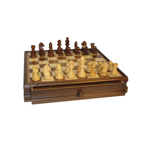 "15"" Walnut and Maple Drawer Chest Chess Set by WorldWise Imports"