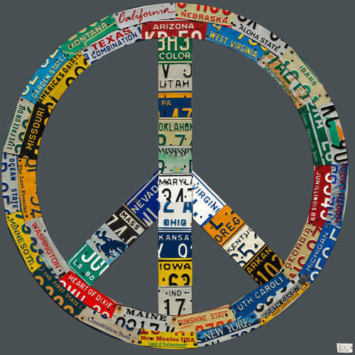 Oopsy Daisy - License Plate Peace - Gray Canvas Wall Art 39x39, Aaron Foster