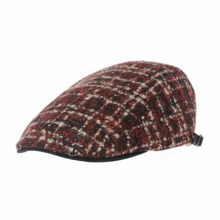 WITHMOONS Wool Felt Lattice Check Pattern Newsboy Hat Flat Cap LD3156 (Red)  - Walmart.com 68ee26fb245