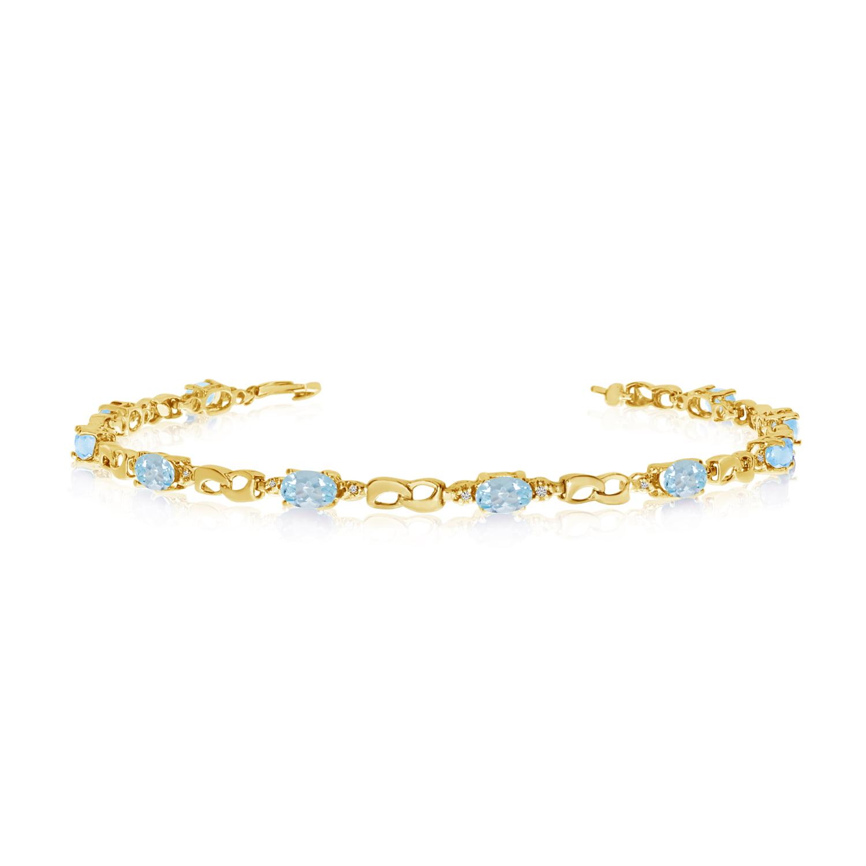 10K Yellow Gold Oval Aquamarine and Diamond Link Bracelet by