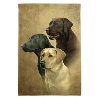 Labrador Retriever Trio Dogs Portrait Garden Yard Flag (Pole Not Included)