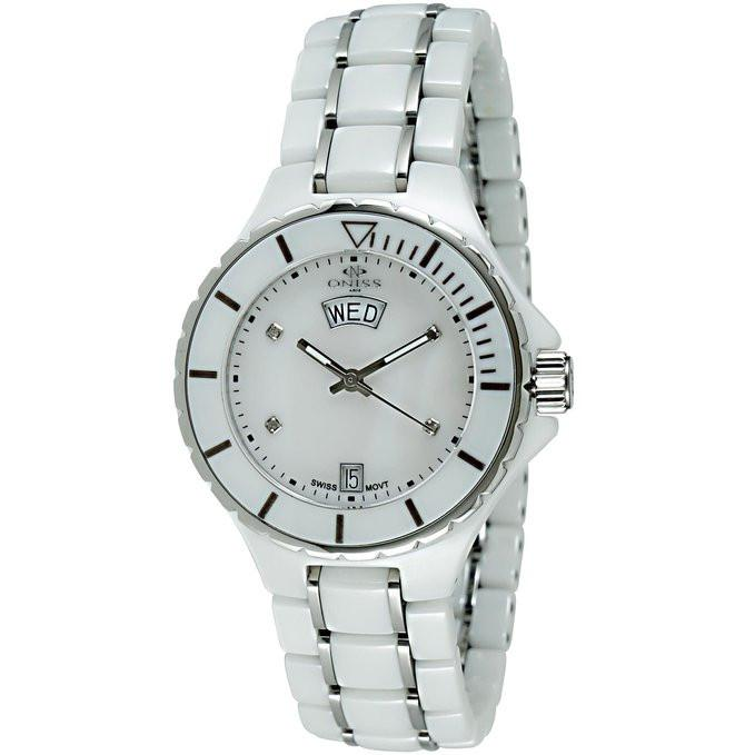 Oniss ON8015-LDD/WT Women's Watch White Ceramic Case With...