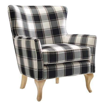 Dorel Living Middlebury Checkered Pattern Accent Chair, Black & White Checkered Monroe Accent Chair