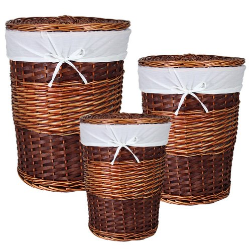 ESSENTIAL D COR & BEYOND, INC 3 Piece Oval Willow Hamper Set