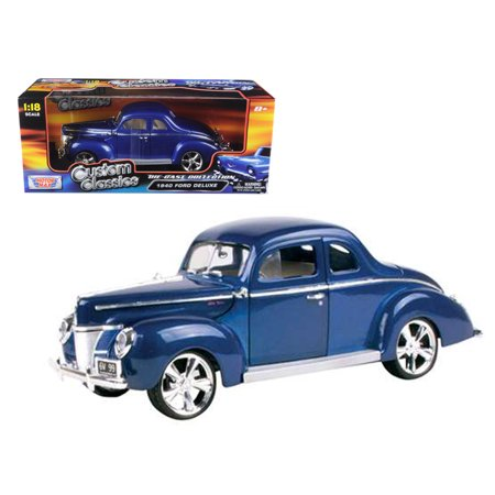 1940 Ford Coupe Deluxe Blue With Custom Wheels 1/18 Diecast Car Model by Motormax