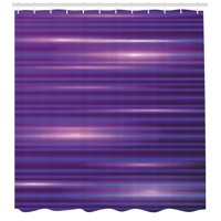 Indigo Shower Curtain, Stripe Like Horizontal Lines Modern Minimalist 70s 80s Inspired Design, Fabric Bathroom Set with Hooks, 69W X 84L Inches Extra Long, Magenta Purple and White, by Ambesonne