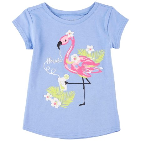 Reel Legends Little Girls Florida Flamingo T-Shirt - Flamingo Girl