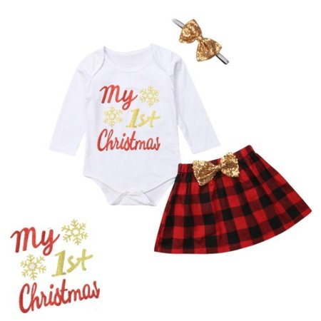 Newborn Baby Girls MY 1ST CHRISTMAS Outfits 3PCS Romper Skirts Bow Headband Set