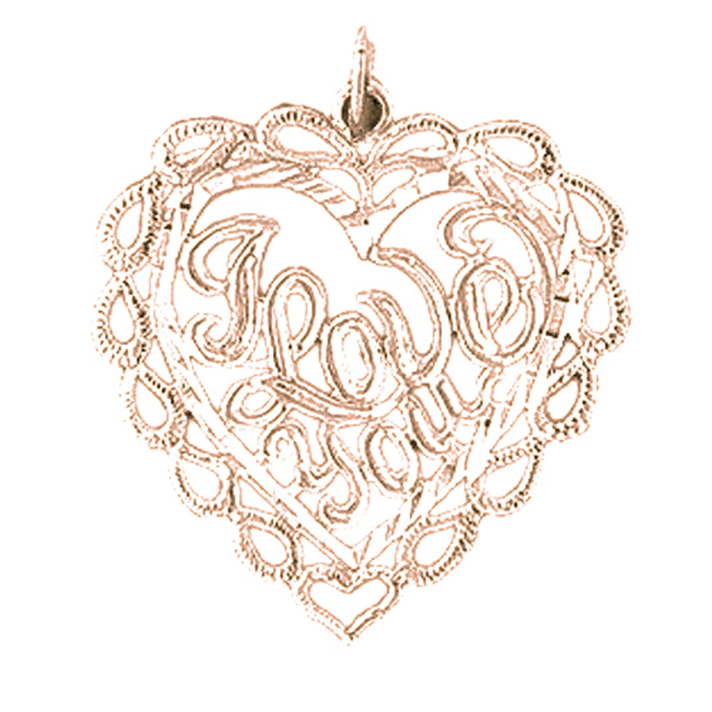 Rose Gold-plated 925 Sterling Silver I Love You Pendant - 25 mm (Approx. 1.53 grams)