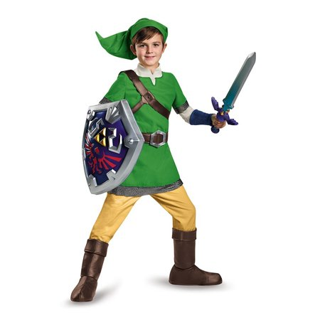 Link Deluxe Child Costume, Medium (7-8), Dress up as your favorite video game character Link By Disguise