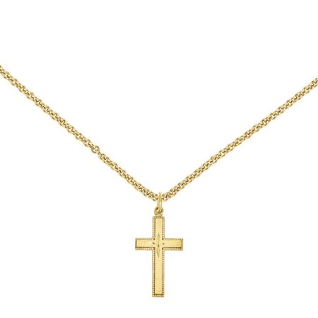 Primal Gold 14 Karat Yellow Gold Diamond-Cut Cross Pendant with 18-inch Cable Chain