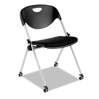 Alera Plus SL Series Nesting Stack Chair with Casters, Black, 2/Carton