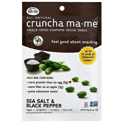 Cruncha Ma-Me Lightly Sea Salt & Black Pepper Freeze-Dried Edamame Veggie Snack, 0.7 oz, (Pack of 8)