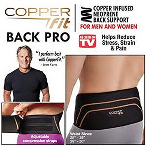 "Copper Fit Back Pro As Seen On TV Compression Lower Back Support Belt Lumbar Large/XL (39""-50""), AS SEEN ON TV"