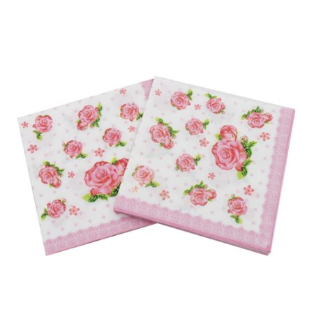 Cluxwal Vintage Napkins Talking Tables Tea Party Floral Napkins Printed Flower Paper Napkins For Wedding Dinner and Party