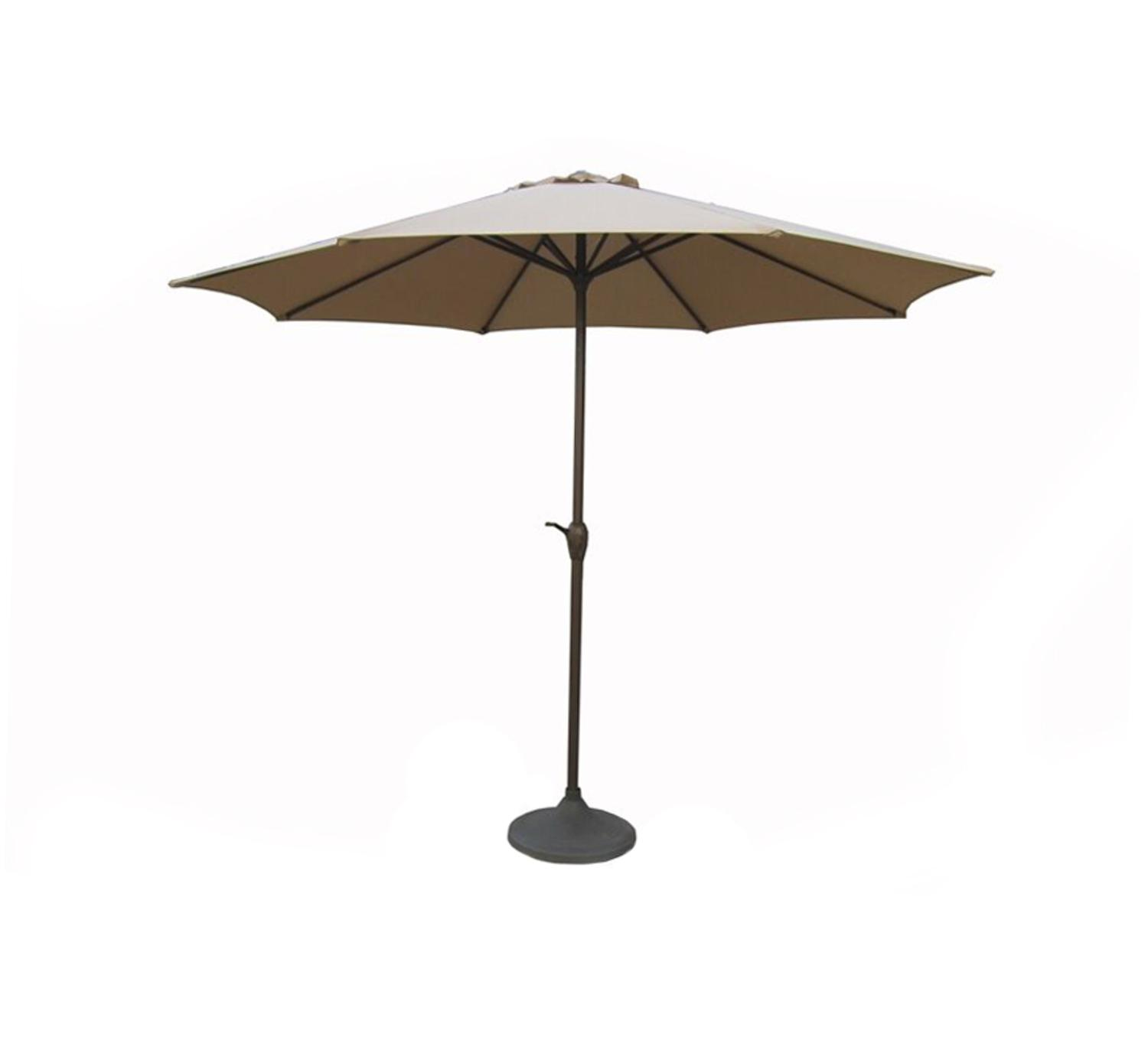 9' Outdoor Patio Market Umbrella with Hand Crank and Tilt Beige and Black by LB International