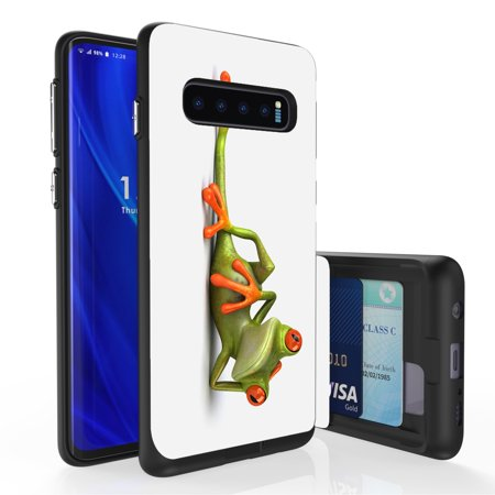 Galaxy S10 Case, PimpCase Slim Wallet Case + Dual Layer Card Holder For Samsung Galaxy S10 [NOT S10e OR S10+] (Released 2019) Lounging Frog