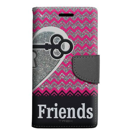 Alcatel Pop 4 Wallet Case - Best Friends Glitter Chevron Key Heart - FRIENDS