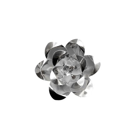 Mega Crafts - 8'' Handmade Paper Flower in Metallic Silver | For Home Décor, Wedding Bouquets & Receptions, Event Flower Planning, Table Centerpieces, Backdrop Wall Decoration, Garlands & Parties ()