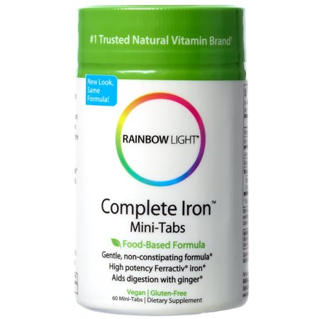 Rainbow Light - Complete Iron Mini-Tabs, Gently Encourages Healthy Iron Levels by Promoting Iron Absorption with Ferractiv Iron, Vitamin C and Ginger, Vegan, Gluten-Free, Non-Constipating, 60 (Best Rainbow Light Irons)