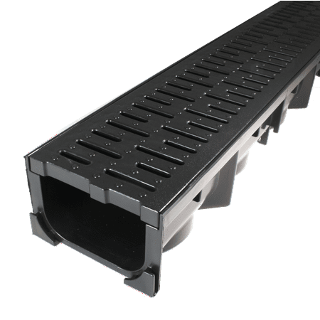 Drainage Trench - Channel Drain With Grate - Black Plastic - 39