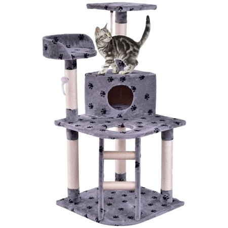 Gymax 48'' Cat Tree Pet Kitten Play House Tower Condo Scratching Post w Rope and Ladder