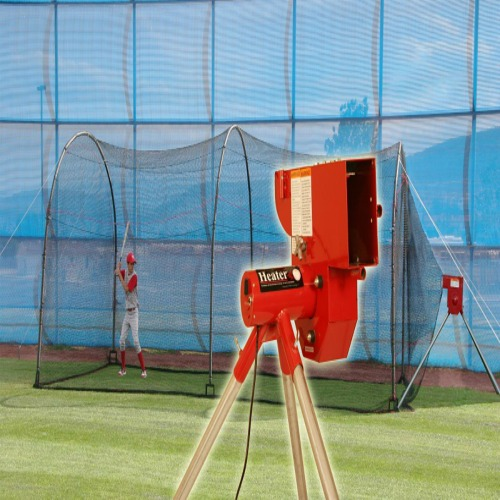 Heater Sports Softball Pitching Machine & Xtender 24' Batting Cage