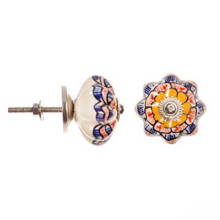 Flower Ceramic Insert Knob (Decorative Knob - Ceramic - Fancy - Geometric Multicolor Flower)