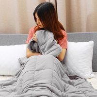 Weighted Blanket 20lbs (48''x72'', Grey, Twin/Full Size), Cooling Heavy Blanket for Kids Adults, Premium Cotton with Glass Beads