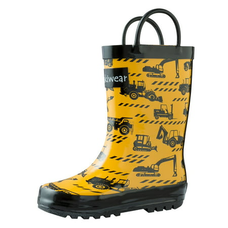 Oakiwear Kids Rain Boots For Boys Girls Toddlers Children, Construction Vehicles (Coaxial Rubber Boot)