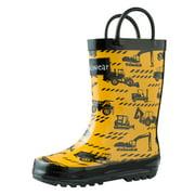 Oakiwear Kids Rain Boots For Boys Girls Toddlers Children, Construction Vehicles