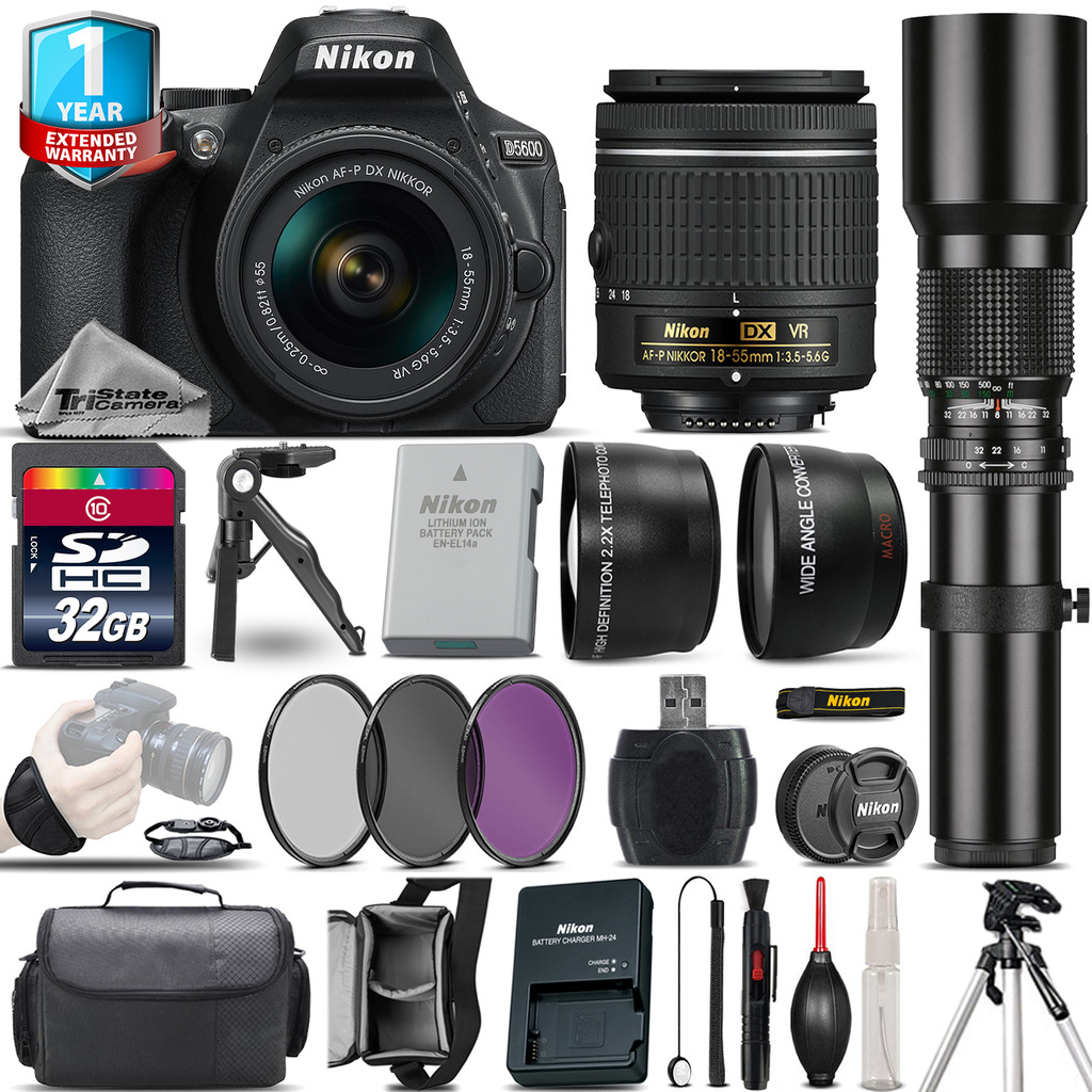 Nikon D5600 DSLR Camera + 18-55mm VR + 500mm Lens + Filter Kit + 1yr Warranty