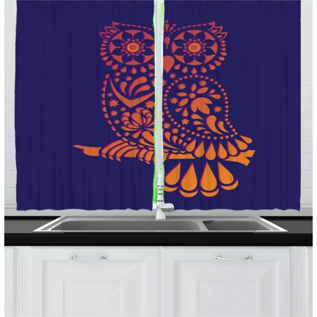 Indie Curtains 2 Panels Set, Ornamental Hand Drawn Owl Figure in Vintage Style Floral Details Wisdom Symbol, Window Drapes for Living Room Bedroom, 55W X 39L Inches, Navy Blue Orange, by Ambesonne ()