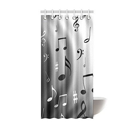 MOHome Sheet Music Shower Curtain Waterproof Polyester Fabric Size 36x72 Inches