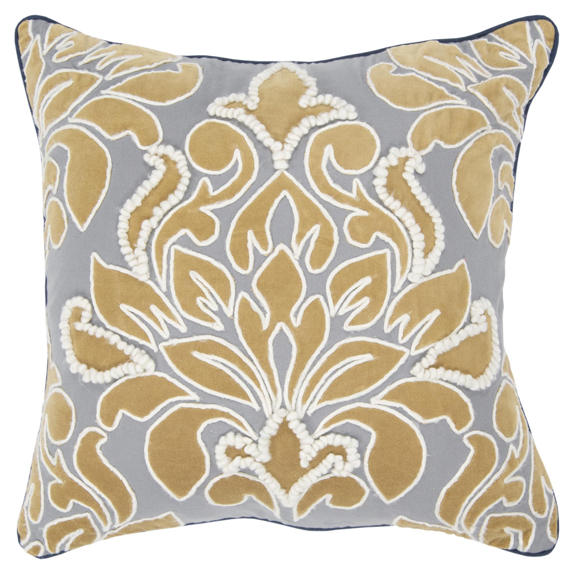 "Rizzy Home Decorative Downfilled Throw Pillow Damask 20""X20"" Gold"