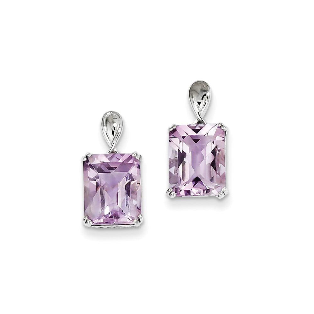 Sterling Silver Pink Quartz Earrings. Gem Wt- 5.27ct (0.6IN x 0.3IN )