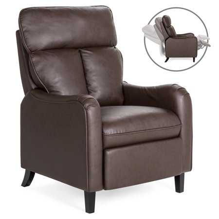 Best Choice Products Upholstered Faux Leather English Roll Arm Chair Lounge Recliner Seat Home Furniture for Living Room, Bedroom w/ 160-Degree Reclining, Leg Rest - Brown