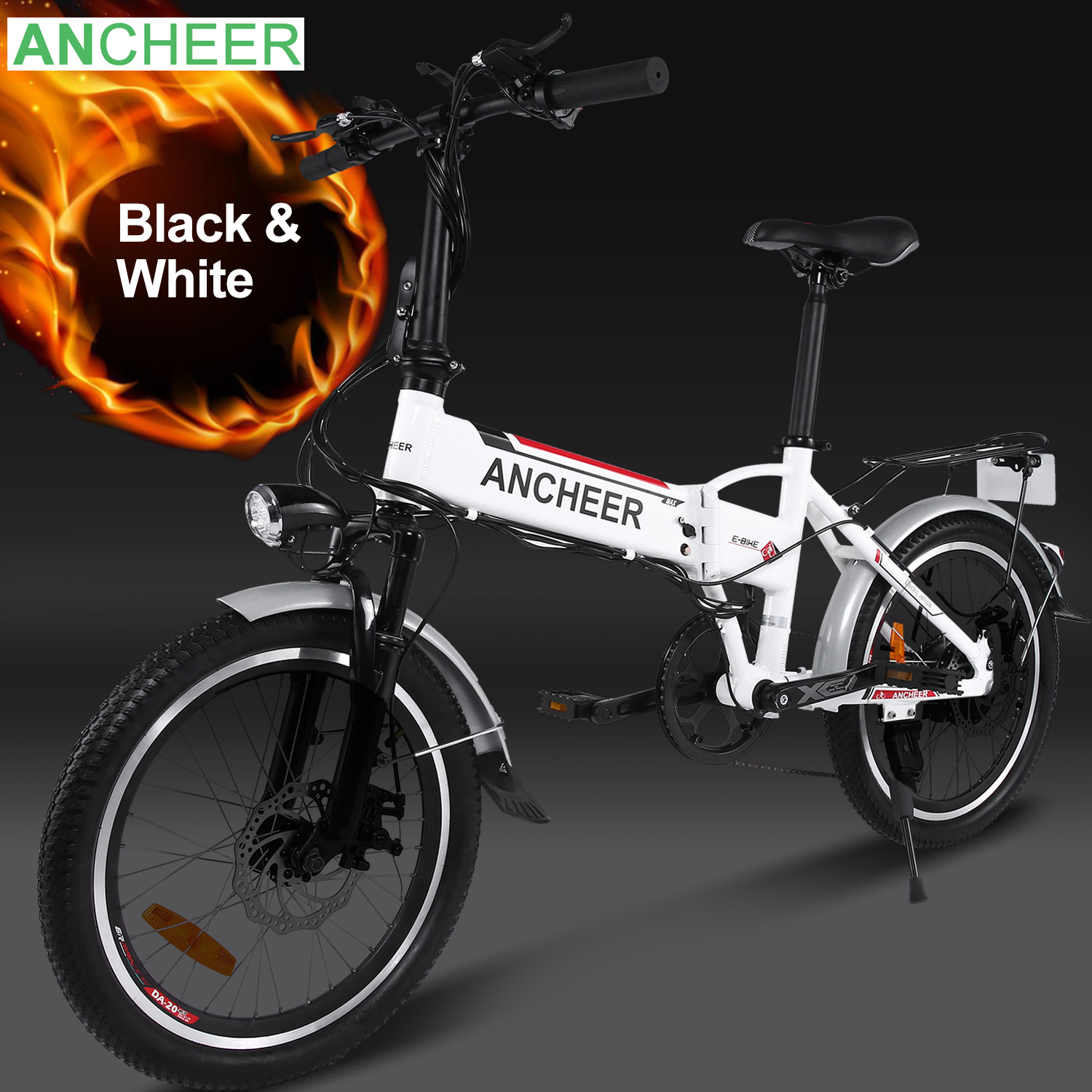 Ancheer Foldable Electric Bike Adjustable Mountain Bicycle with Smart Lithium Battery