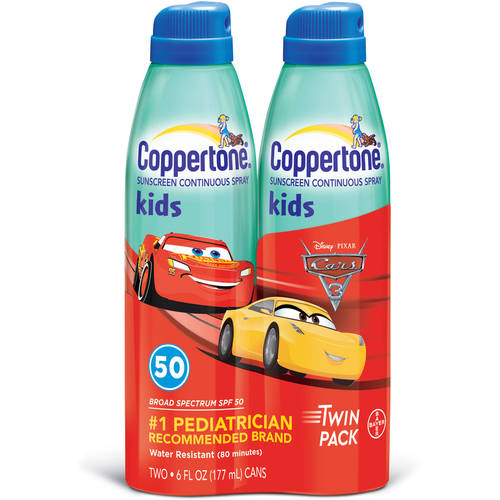 Coppertone Kids Continuous Spray, SPF 50, Twinpack, 6-Oz Bottles