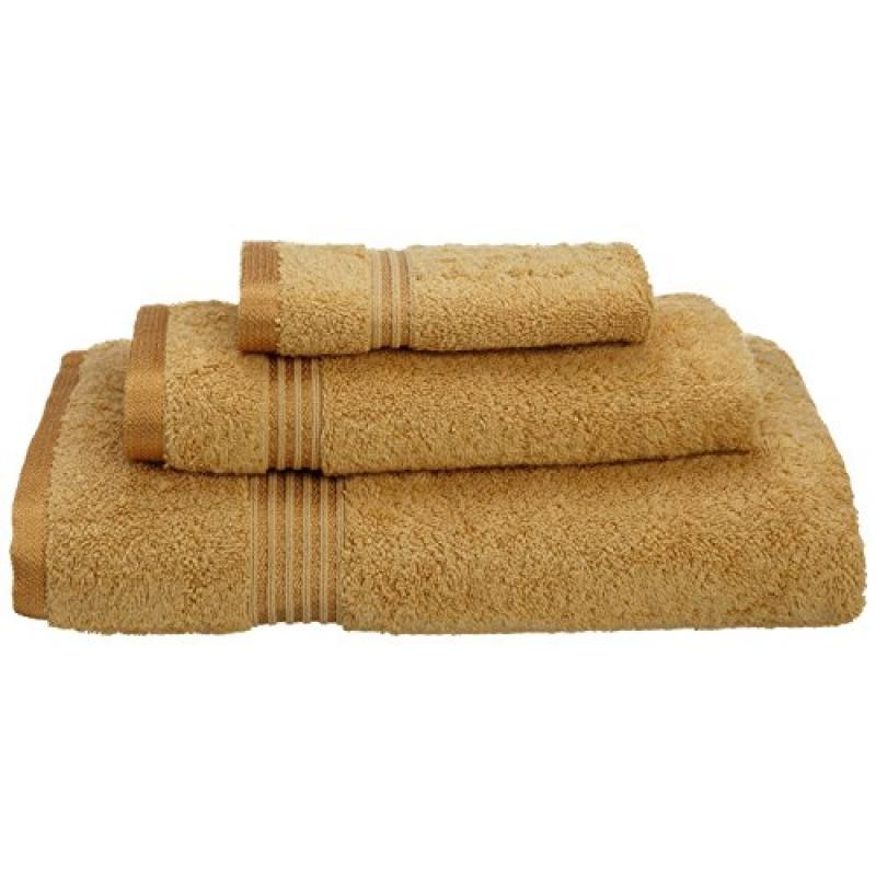 Superior Luxurious Soft Hotel & Spa Quality 3-Piece Towel Set, Made of 100% Premium Long-Staple Combed Cotton - Washcloth, Hand Towel, and Bath Towel, Gold