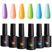 Makartt UV Gel Nail Polish Set Macaron Colors LED Gel Nail Kit 6 Bottles Soak Off Gel Summer Colors 10 ml with Gift Box P-17 - Best Reviews Guide