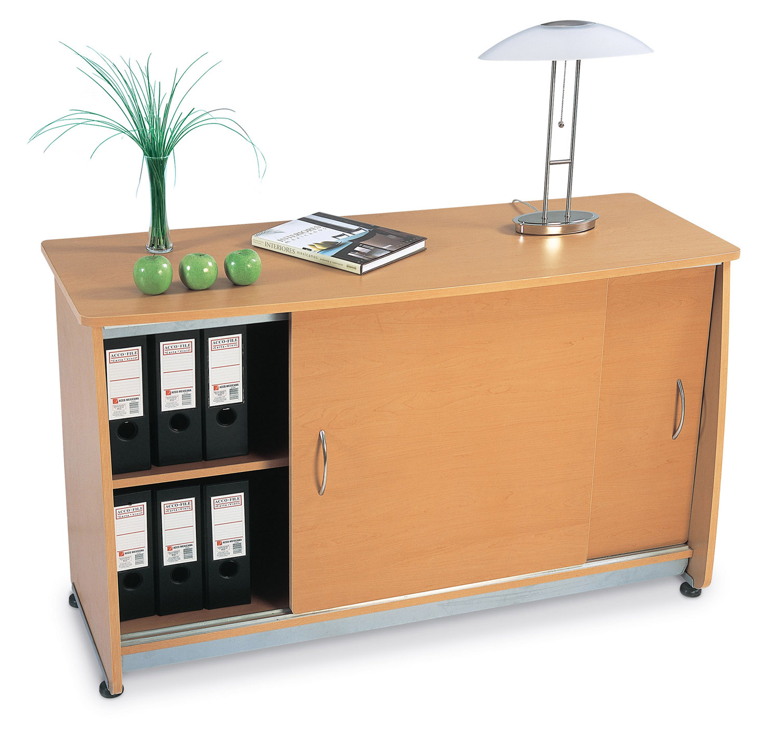 OFM Model 55135 2-Shelf Sliding Door Credenza, Maple
