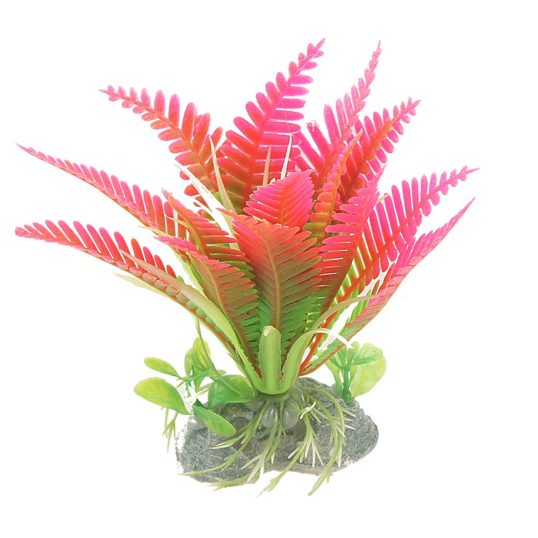 Unique Bargains Fish Tank Perforated Base Plastic Aquatic Plants Decor Hot Pink Green 5